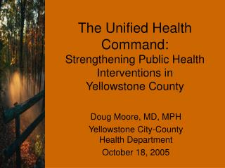 The Unified Health Command:  Strengthening Public Health Interventions in  Yellowstone County