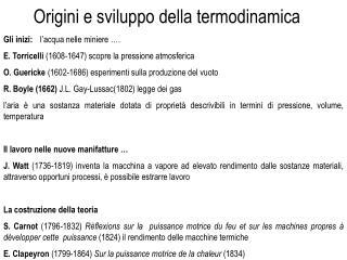 Origini e sviluppo della termodinamica