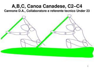 A,B,C, Canoa Canadese, C2–C4 Cannone D.A., Collaboratore e referente tecnico Under 23 canadese