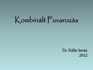 Kombinált Fuvarozás     Dr. Fullér István 2012