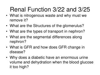 Renal Function 3/22 and 3/25
