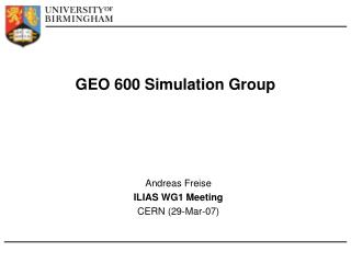 GEO 600 Simulation Group