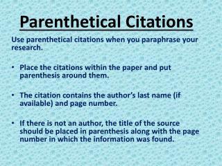 Parenthetical Citations