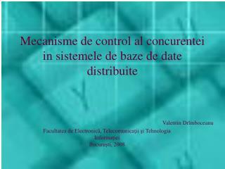 Mecanisme de control al concurentei in sistemele de baze de date distribuite
