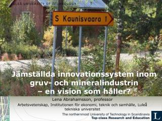 Jämställda innovationssystem inom gruv- och mineralindustrin  – en vision som håller?