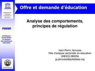Analyse des comportements, principes de r�gulation