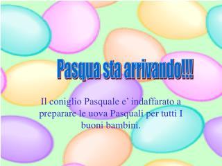 Il coniglio Pasquale e' indaffarato a preparare le uova Pasquali per tutti I buoni bambini.