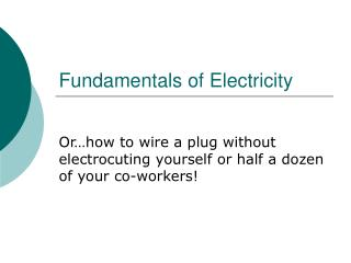 Fundamentals of Electricity