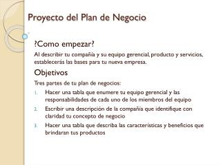 Proyecto del Plan de Negocio