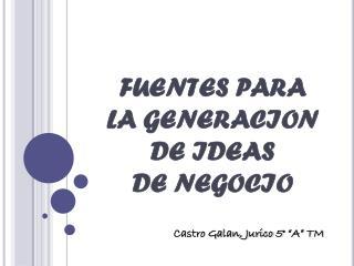 FUENTES PARA  LA GENERACION  DE IDEAS  DE  NEGOCIO