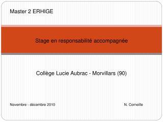 Master 2 ERHIGE Stage en responsabilité accompagnée Collège Lucie Aubrac - Morvillars (90)