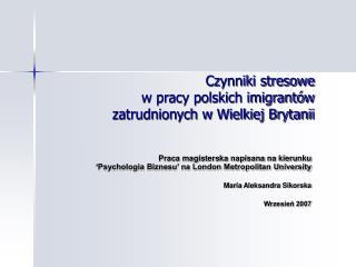 Czynniki stresowe  w pracy polskich imigrantów  zatrudnionych w Wielkiej Brytanii
