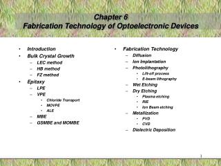 Chapter 6 Fabrication Technology of Optoelectronic Devices