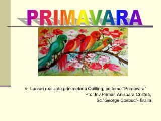 """Lucrari realizate prin metoda Quilling, pe tema """"Primavara"""" Prof.Inv.Primar  Anisoara Cristea,"""