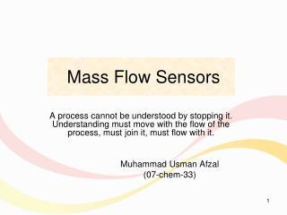 M ass Flow Sensors