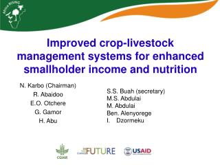 Improved  crop-livestock  management systems for enhanced smallholder income and nutrition