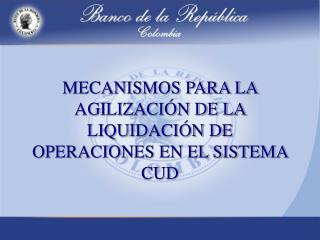 MECANISMOS PARA LA AGILIZACIÓN DE LA LIQUIDACIÓN DE OPERACIONES EN EL SISTEMA CUD