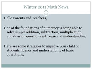 Winter 2011 Math News