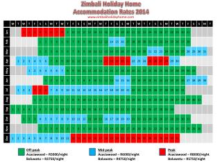 Zimbali Holiday Home Accommodation Rates 2014