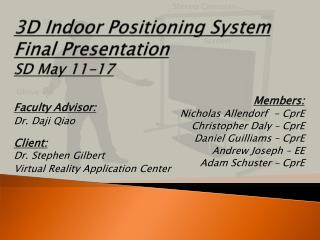 3D Indoor Positioning System Final Presentation SD May 11-17