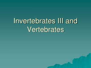 Invertebrates III and Vertebrates
