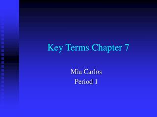 Key Terms Chapter 7