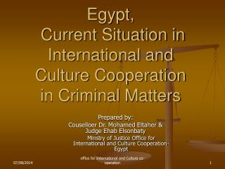 Egypt,  Current Situation in International and Culture Cooperation in Criminal Matters