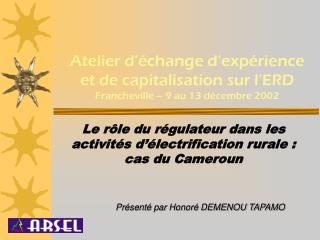 Atelier d'échange d'expérience et de capitalisation sur l'ERD Francheville – 9 au 13 décembre 2002