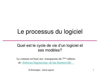 Le processus du logiciel