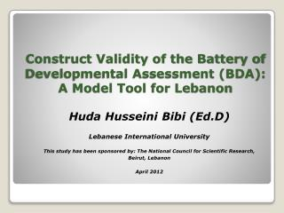 Construct Validity of the Battery of Developmental Assessment (BDA): A Model Tool for Lebanon