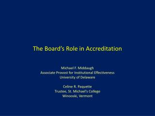 The Board's Role in Accreditation