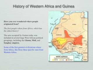 History of Western Africa and Guinea