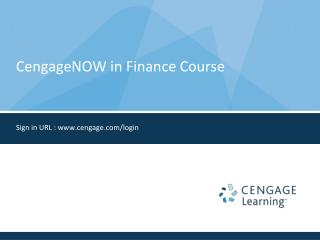CengageNOW in Finance Course