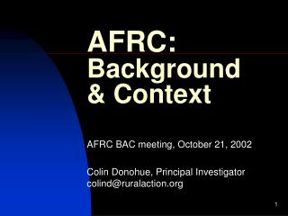 AFRC: Background & Context