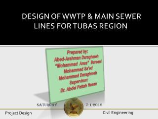 Design of WWTP & Main Sewer Lines For Tubas Region