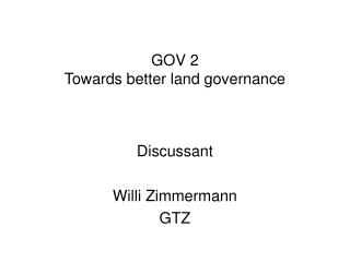 GOV 2 Towards better land governance