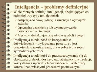 Inteligencja – problemy definicyjne
