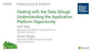 Dealing with the Data Deluge: Understanding the  Application  Platform Opportunity