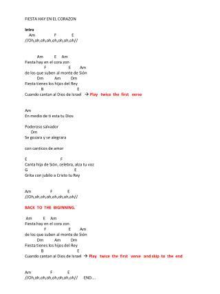 FIESTA HAY EN EL CORAZON Intro     Am                   F               E