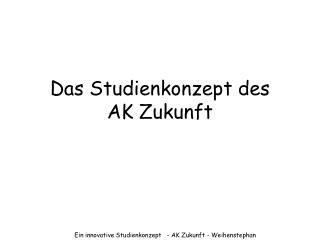 Das Studienkonzept des  AK Zukunft