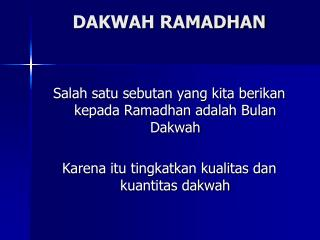 DAKWAH RAMADHAN