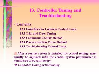 13. Controller Tuning and Troubleshooting