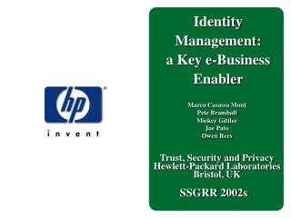 Identity  Management: a Key e-Business  Enabler