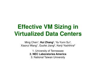 Effective VM Sizing in Virtualized Data Centers