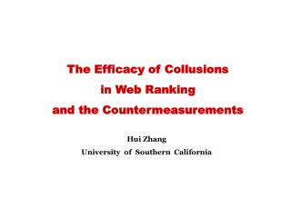 The Efficacy of Collusions  in Web Ranking  and the Countermeasurements