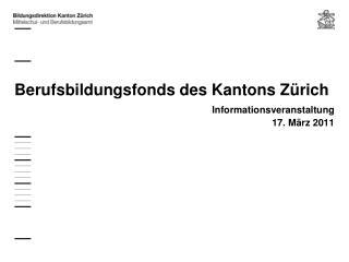 Berufsbildungsfonds des Kantons Zürich