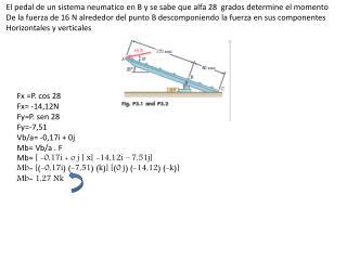 El pedal de un sistema  neumatico  en B y se sabe que alfa 28  grados determine el momento
