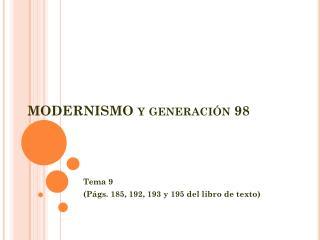 MODERNISMO y generación 98