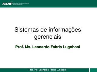 Sistemas de informações gerenciais Prof . Ms. Leonardo Fabris Lugoboni