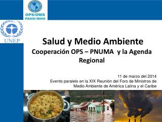 Salud  y Medio Ambiente  Cooperaci�n  OPS  � PNUMA   y la Agenda Regional